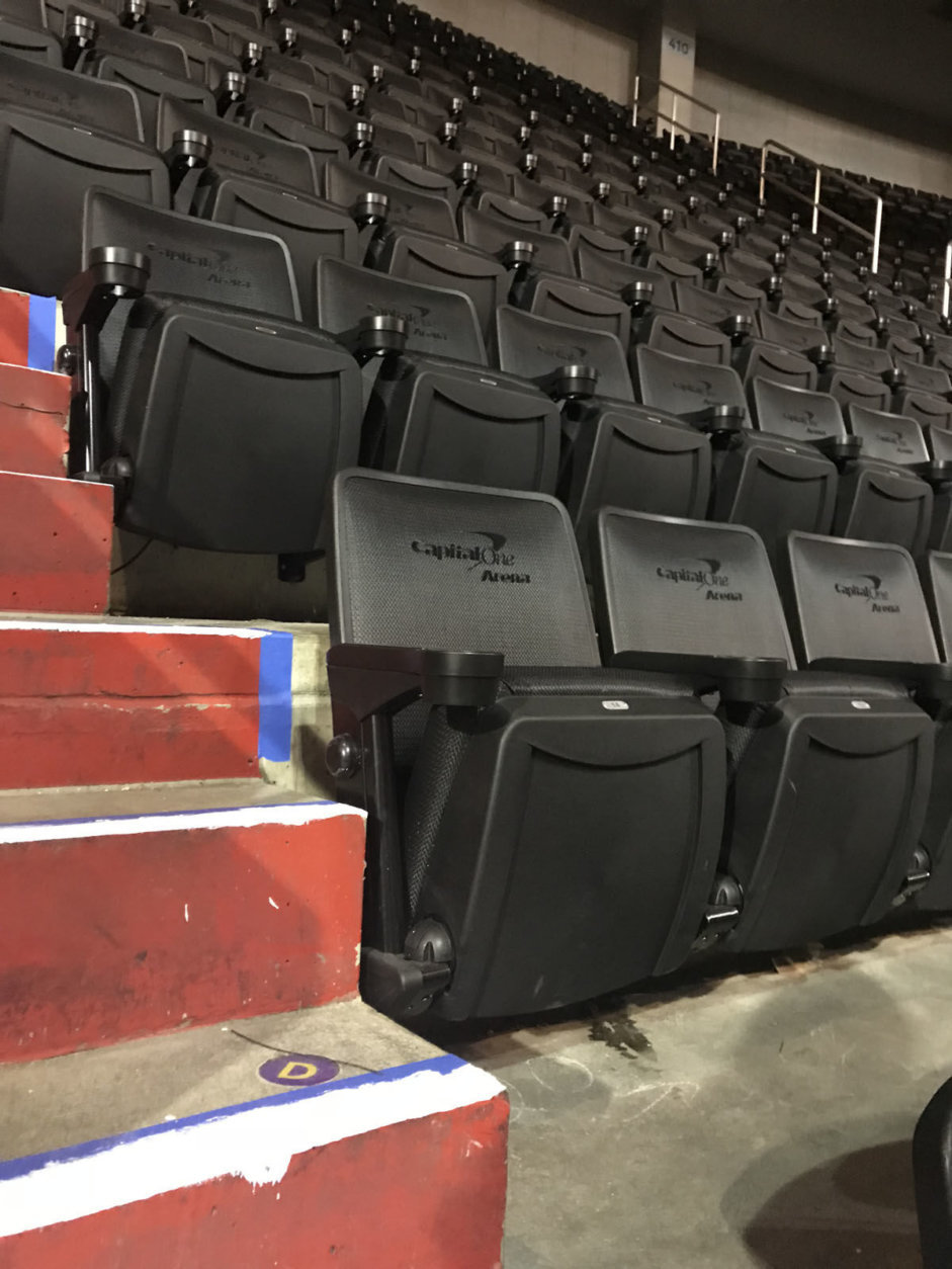 The upgrades include all new, more comfortable padded seats with new cup holders. (Courtesy Monumental Sports and Entertainment)