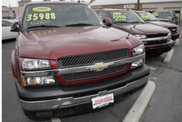 The Chevrolet pckup truck is No. 4 in most stolen vehicles overall. An unsold 2006 Chevrolet pickup truck sits next to a Trailblazer and Avalanche pickup truck on the lot at a dealership in Denver on Sunday, Oct. 8, 2006. Retail sales fell in September by the largest amount in three months, although the weakness primarily reflected a big drop in gasoline prices which actually helped to boost spending in other categories. (AP Photo/David Zalubowski)