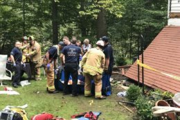 Eight people were transported to treat their injuries after a deck holding 20 people collapsed in Ellicott City, Maryland. (Courtesy Howard County Fire and EMS)