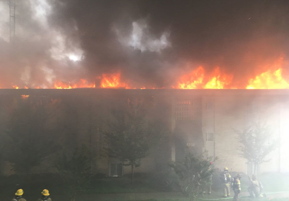 The fire destroyed a three-story garden apartment building.(Courtesy Prince George's County Fire and EMS)