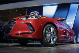 No. 4: The 2017 Hyundai Elantra had 929 thefts last year, ranking No. 4 in most stolen cars that year. The 2017 Hyundai Elantra is shown at the Los Angeles Auto Show on Wednesday, Nov. 18, 2015 in Los Angeles. (AP Photo/Chris Carlson)