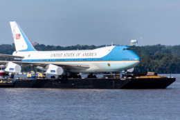A full-size 747 replica of the famous Air Force One is now on display at National Harbor. (WTOP/Alejandro Alvarez)