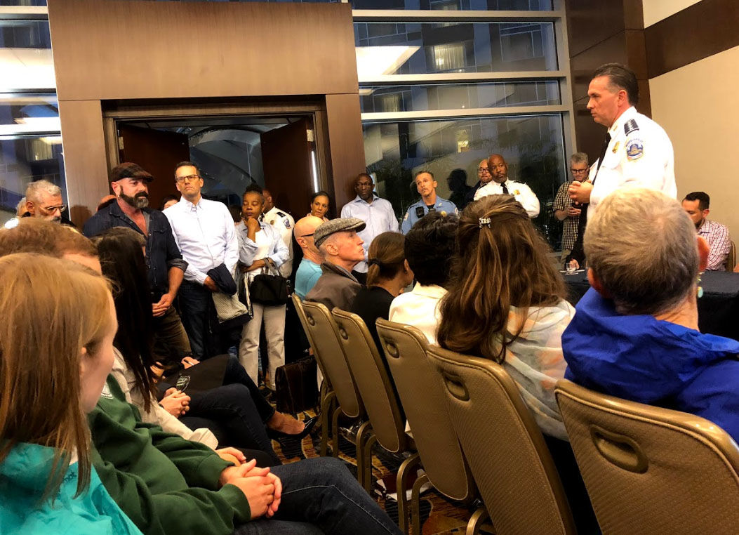 D.C. police Chief Peter Newsham addresses the crime concerns of residents in the Logan Circle area on Monday, Sept. 24, 2018. (WTOP/Mike Murillo)