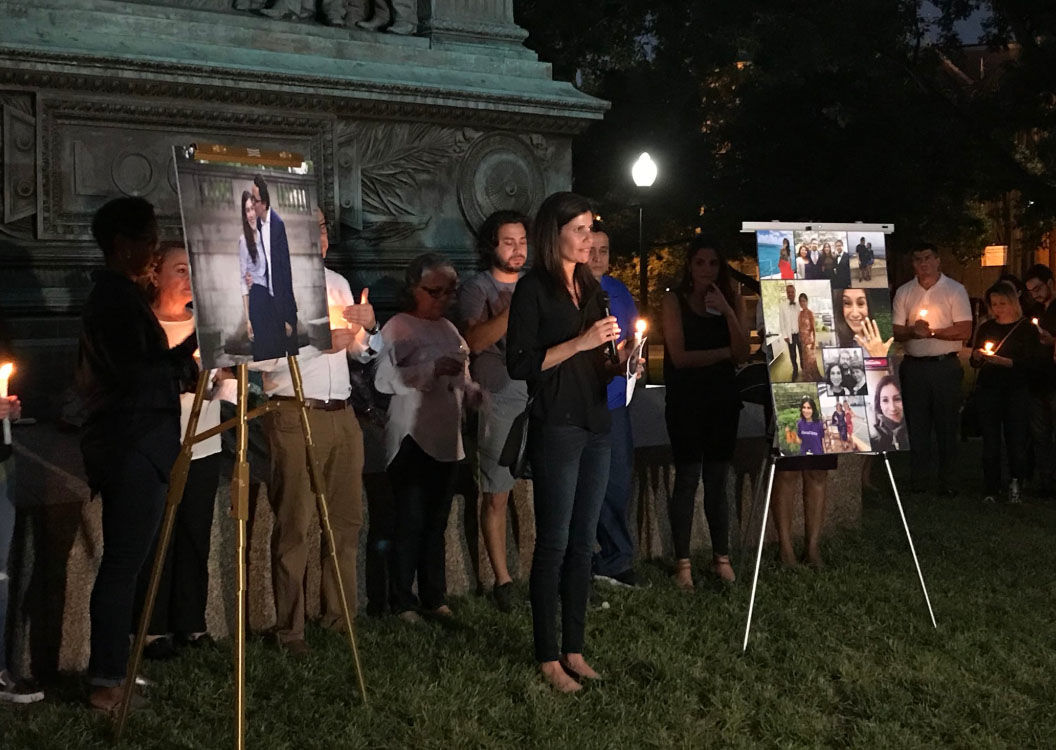 "One of Wendy Martinez's friends Jennifer says that ""The Earth needs more Wendys,"" on Thursday, Sept. 20, 2018, in D.C. during a vigil for Martinez who was stabbed to death while out running. (WTOP/Michelle Basch)"