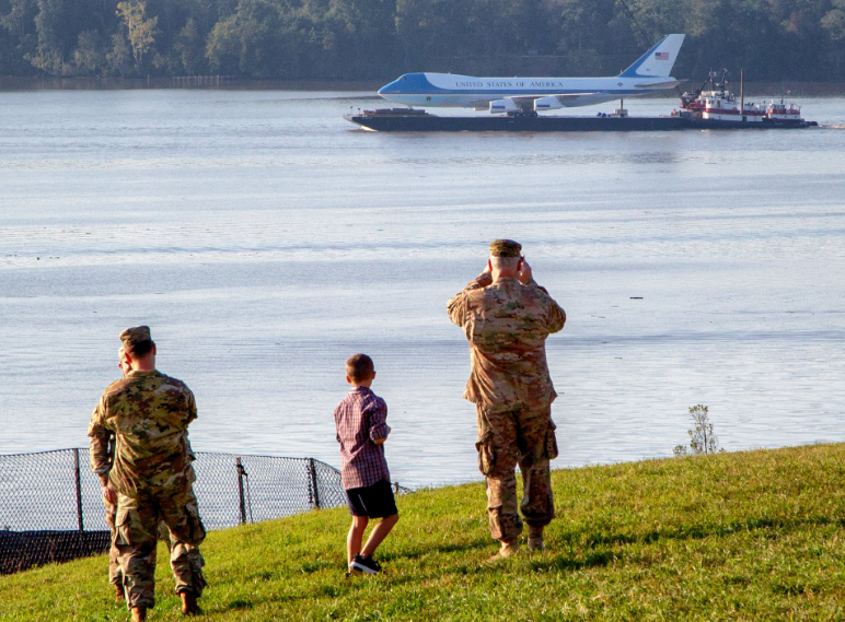 A full-size 747 replica of Air Force One makes its way along the Potomac River as seen from Mt. Vernon. (Courtesy)