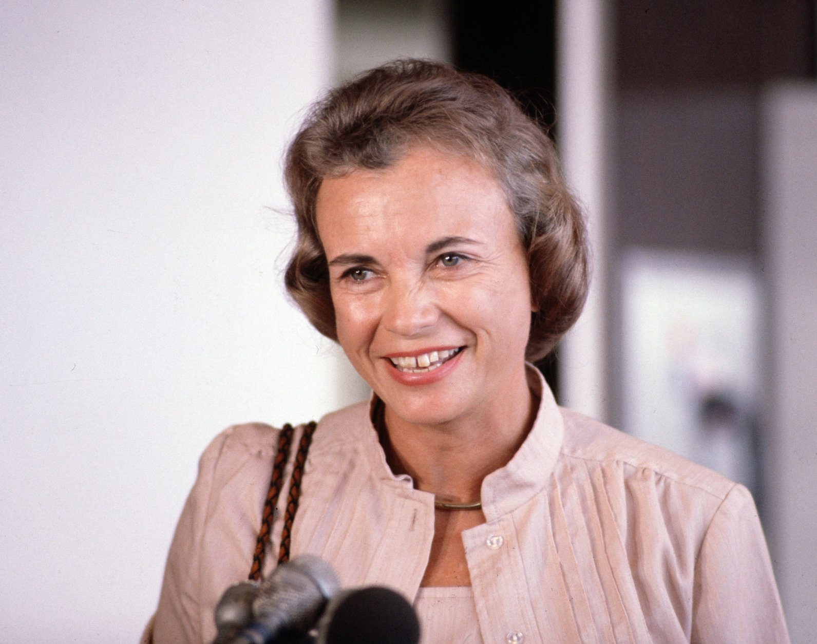 Supreme Court nominee Sandra Day O'Connor is shown on arrival at Washington National Airport, July 1981.  (AP Photo/Charles Tasnadi)