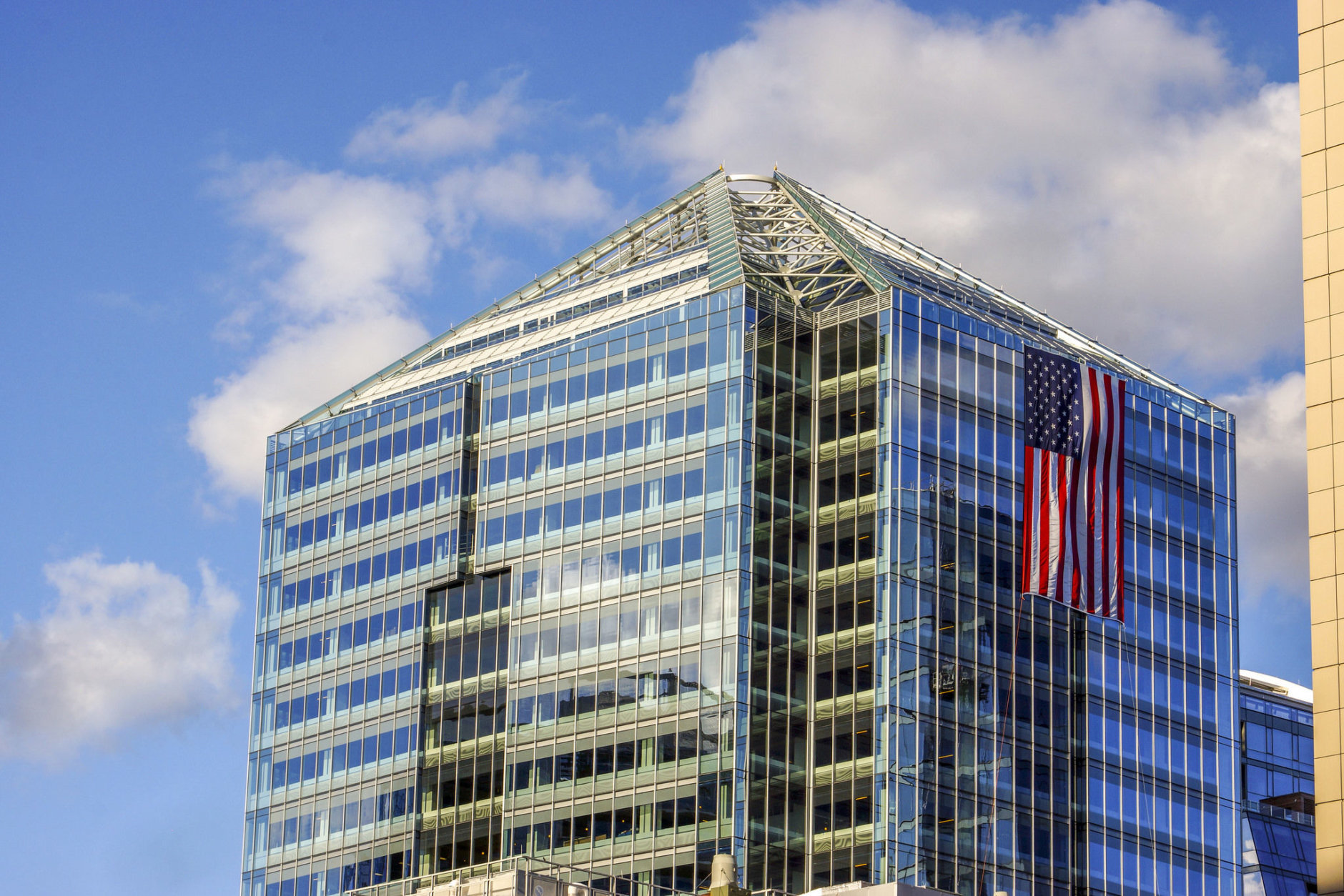 Buildings in Rosslyn displayed the American flag in remembrance of the Sept. 11 terrorist attacks. (Courtesy Rosslyn Business Improvement Department)