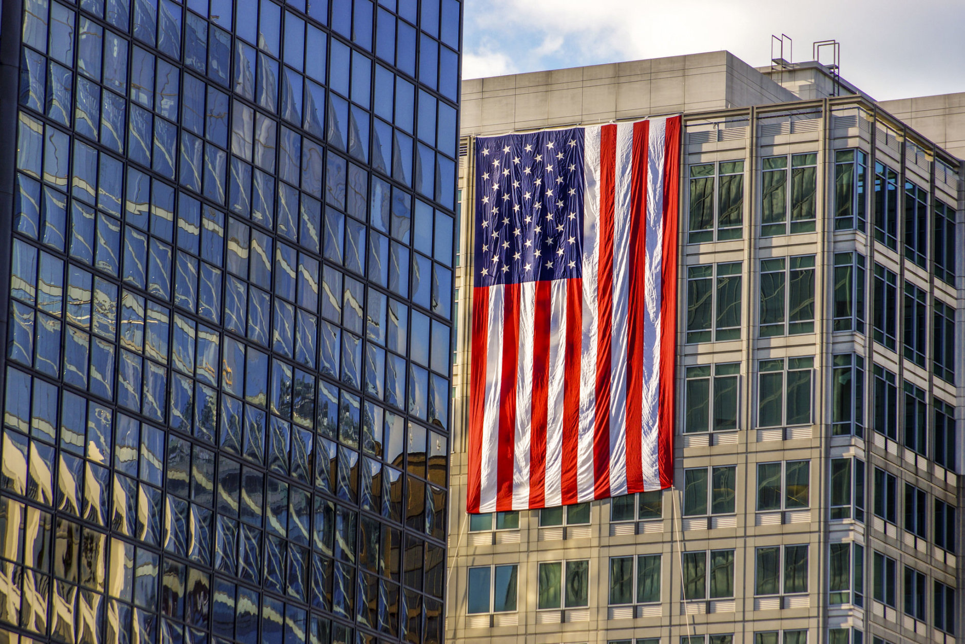 A flag hangs in Rosslyn, Va. on the anniversary of the Sept. 11 terrorist attacks in Arlington and New York City. (Courtesy Rosslyn Business Improvement District)