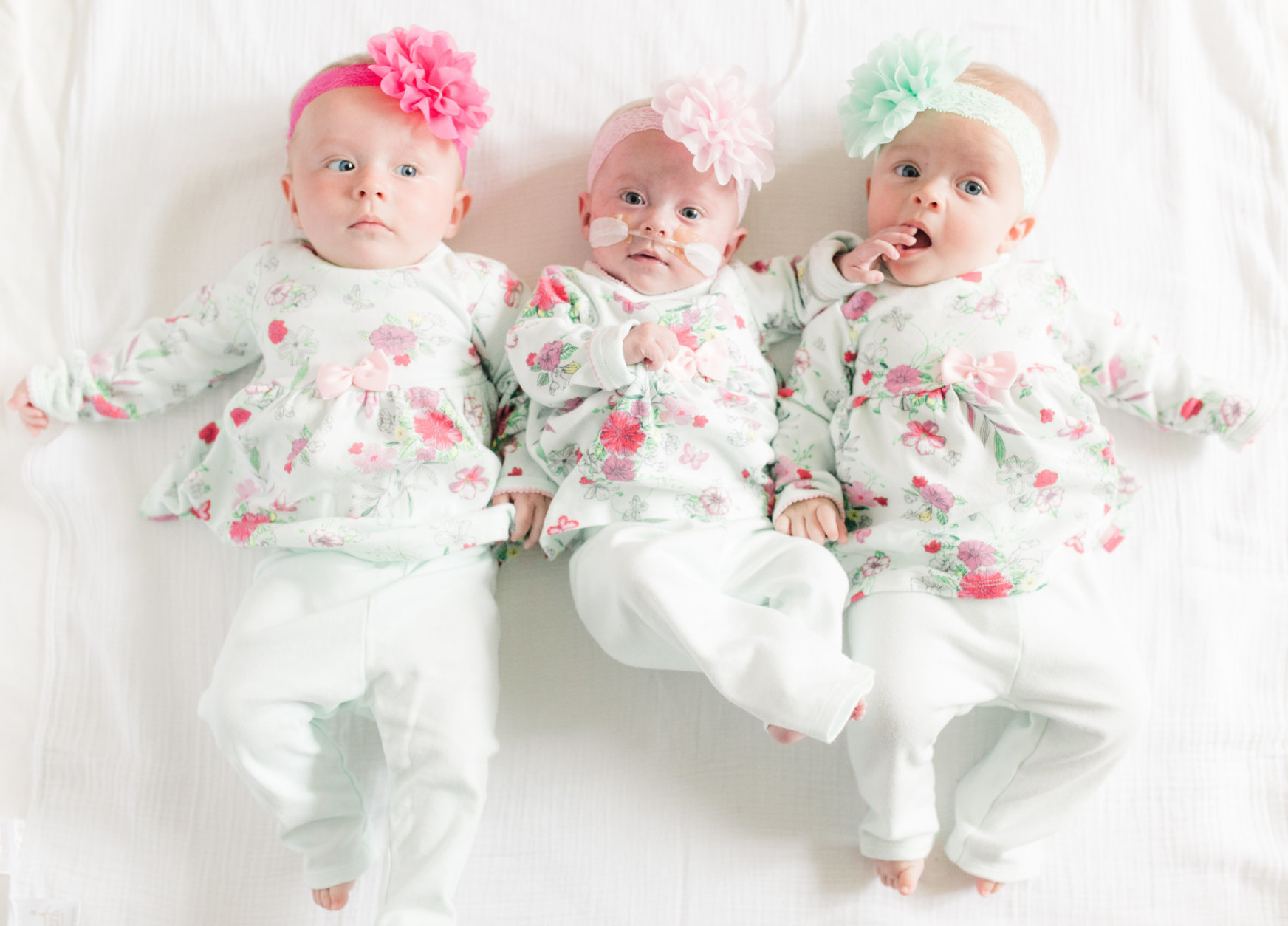 Pictured in May 2018, Rose in dark pink, Julia in light pink and Elise in green. (Courtesy Abigail Rueger)