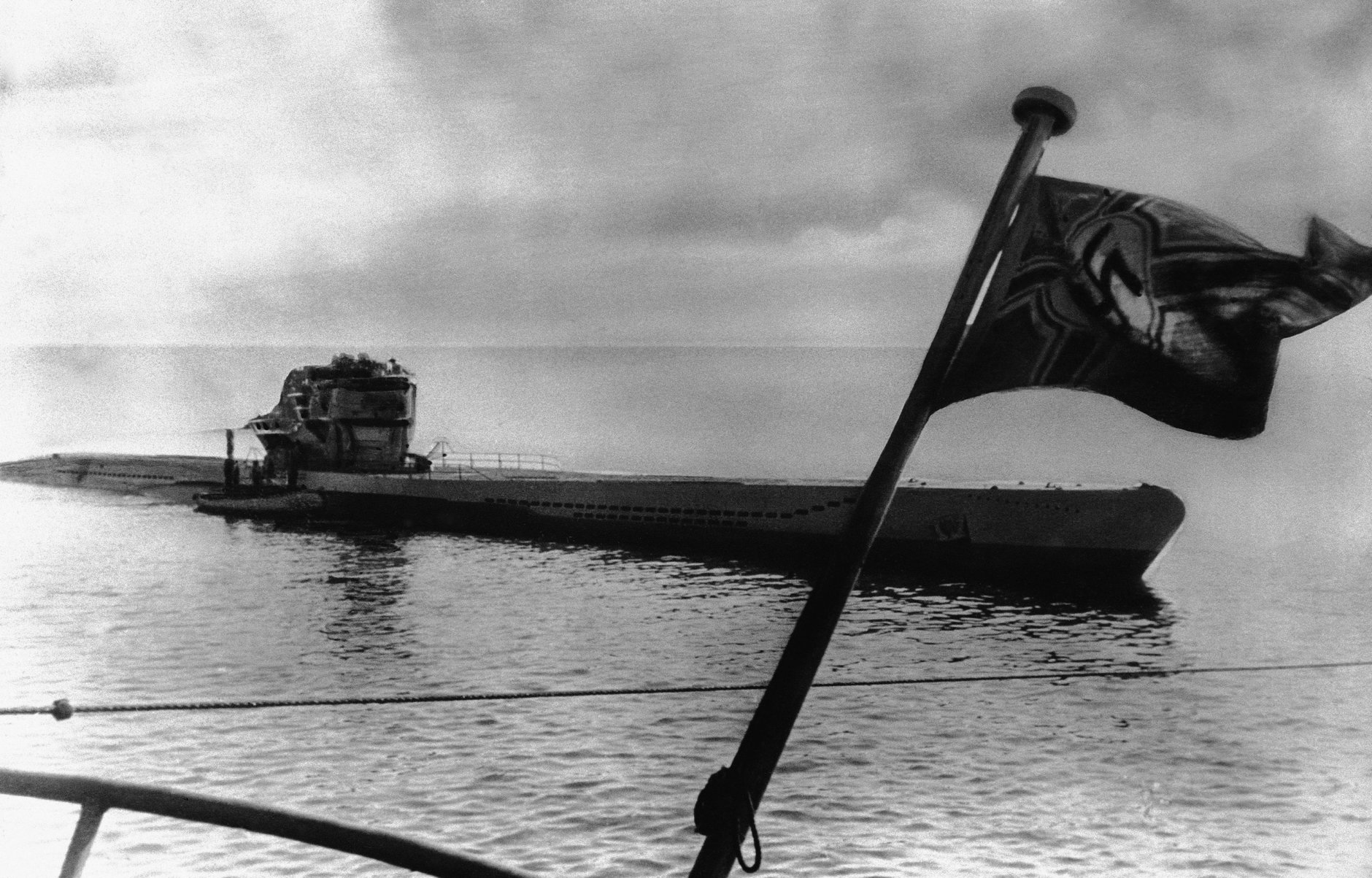 A new German U-boat returning from sea trials  on Oct. 27, 1943. (AP Photo)