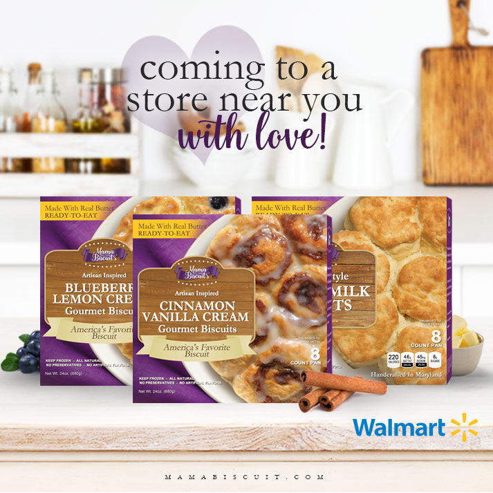 Mama Biscuits will sell two flavors in Walmart stores: Cinnamon Vanilla Cream and Blueberry Lemon Cream. (Courtesy Mama Biscuits)