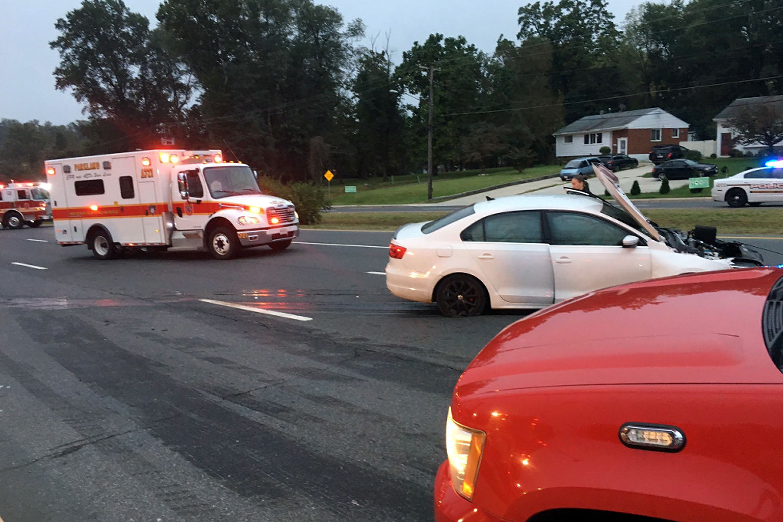 A vehicle struck students waiting for the bus in Aspen Hill Tuesday morning. (Courtesy Montgomery County Fire & Rescue)