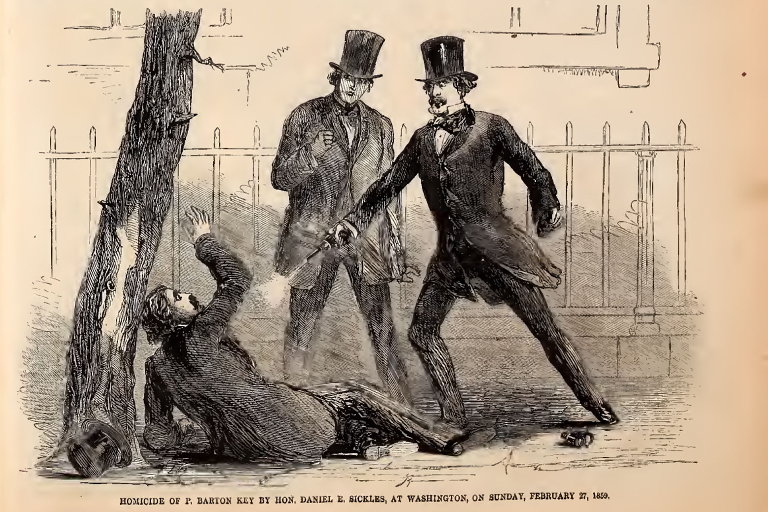 A Harper's Weekly illustration of the shooting of Philip Barton Key at the hands of U.S. Rep. Daniel Sickles (D-N.Y.) in 1859.