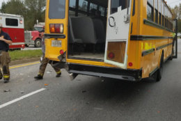 More than a dozen young students were sent to the hospital with minor injuries Friday morning after a crash involving a Cahrles County, Maryland, school bus and a dump truck. (Courtesy Charles County Volunteer Fire and EMS)