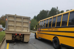 More than a dozen young students were sent to the hospital, three with minor injuries, Friday morning after a crash involving a Charles County, Maryland, school bus and a dump truck. (Courtesy Charles County Volunteer Fire and EMS)