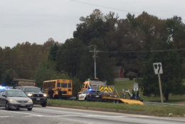 The crash happened around 9:15 a.m. Friday at Mattawoman Beantown Road near Poplar Hill Road in Bryantown, authorities said. (WTOP/Darci Marchese)