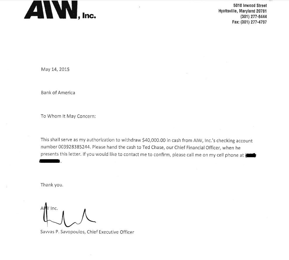 The authorization from Savvas Savopoulos to American Iron Works' CFO Ted Chase to withdraw $40,000 from the company checking account. Prosecutors said Daron Wint held the four victims overnight, waing for the bank to open the next morning in order to get the ransom. Then he killd them anyway, prosecutors said.  (Courtesy U.S. Attorney's Office for D.C.)