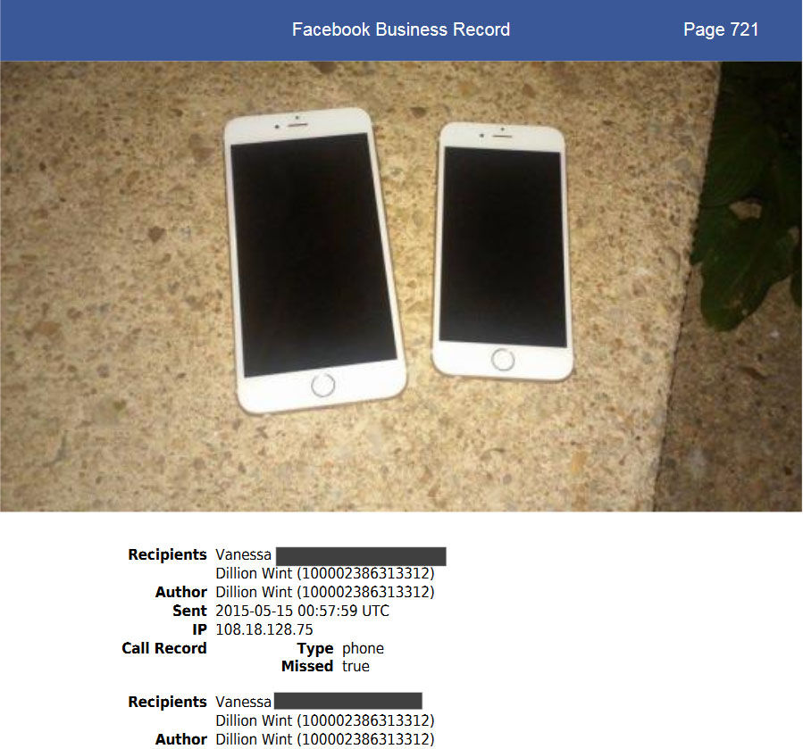 Digital evidence played a key role in the prosecutor's case. Daron Wint messaged this photo of two white iPhones to his girlfriend hours after the fire at the Savopoulous house, asking if cellphones could be tracked. Authorities said two similar white iPhones belonging to Savvas and Amy Savopoulos had been stolen from the house. Wint later deleted the messages. (Courtesy U.S. Attorney's Office for D.C.)