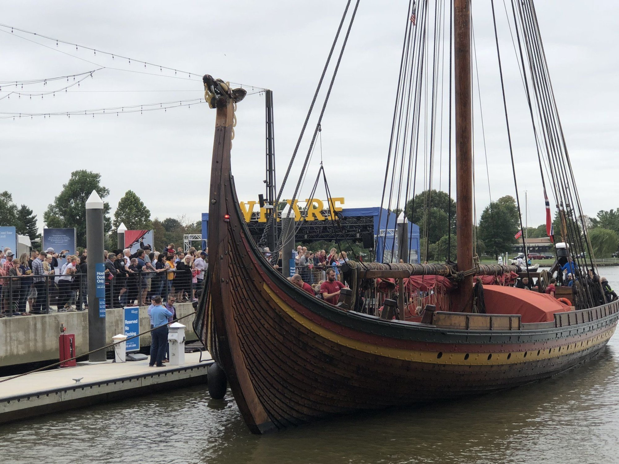 Without Any Warfare Viking Ship Invades Wharf And Is Open For Tours