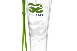 The SWIGSAFE is shaped like a pilsner glass and comes with a lanyard. (Courtesy SWIGSAFE)