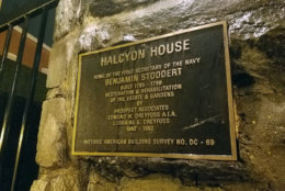 The plaque for Halcyon House. (WTOP/Will Vitka)