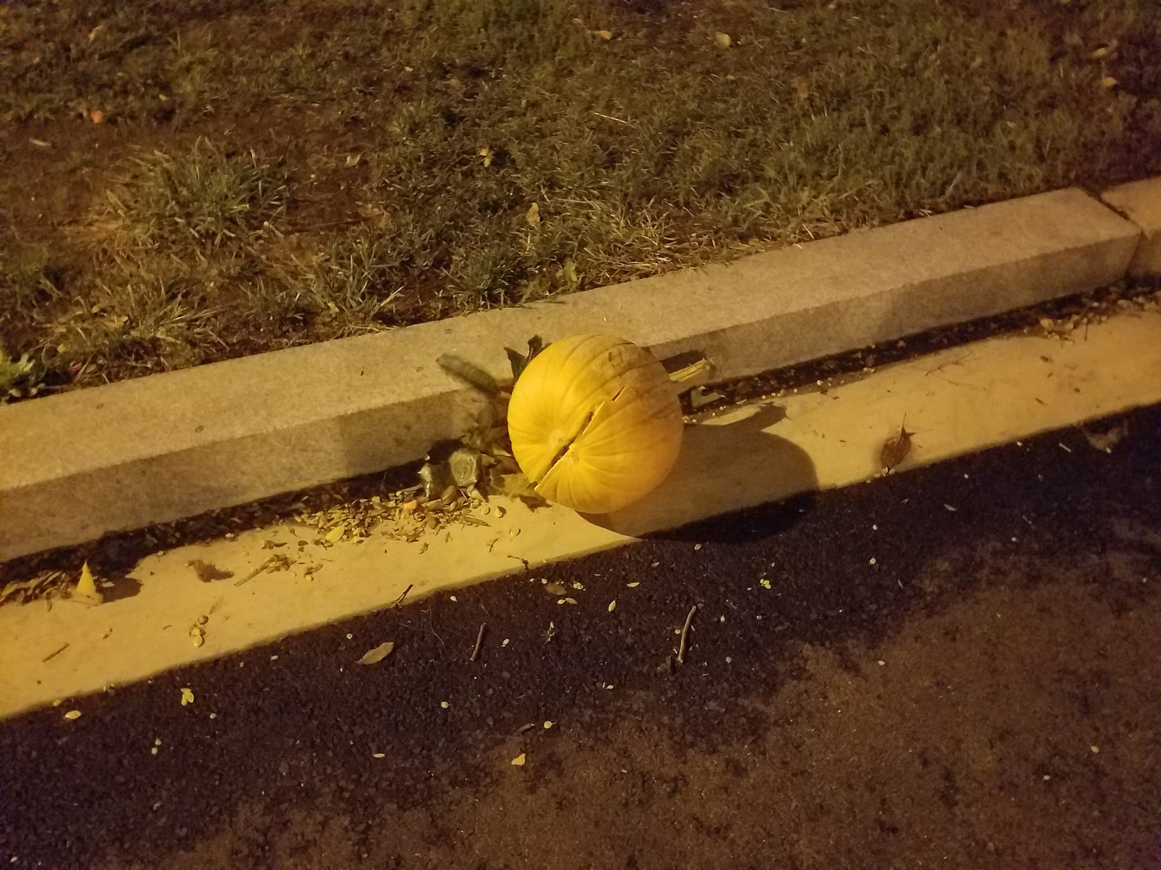 The winds the night of Oct. 11 in Georgetown smashed at least one pumpkin. (WTOP/Will Vitka)