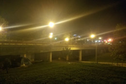 Tents under the K Street Bridge. (WTOP/Will Vitka)