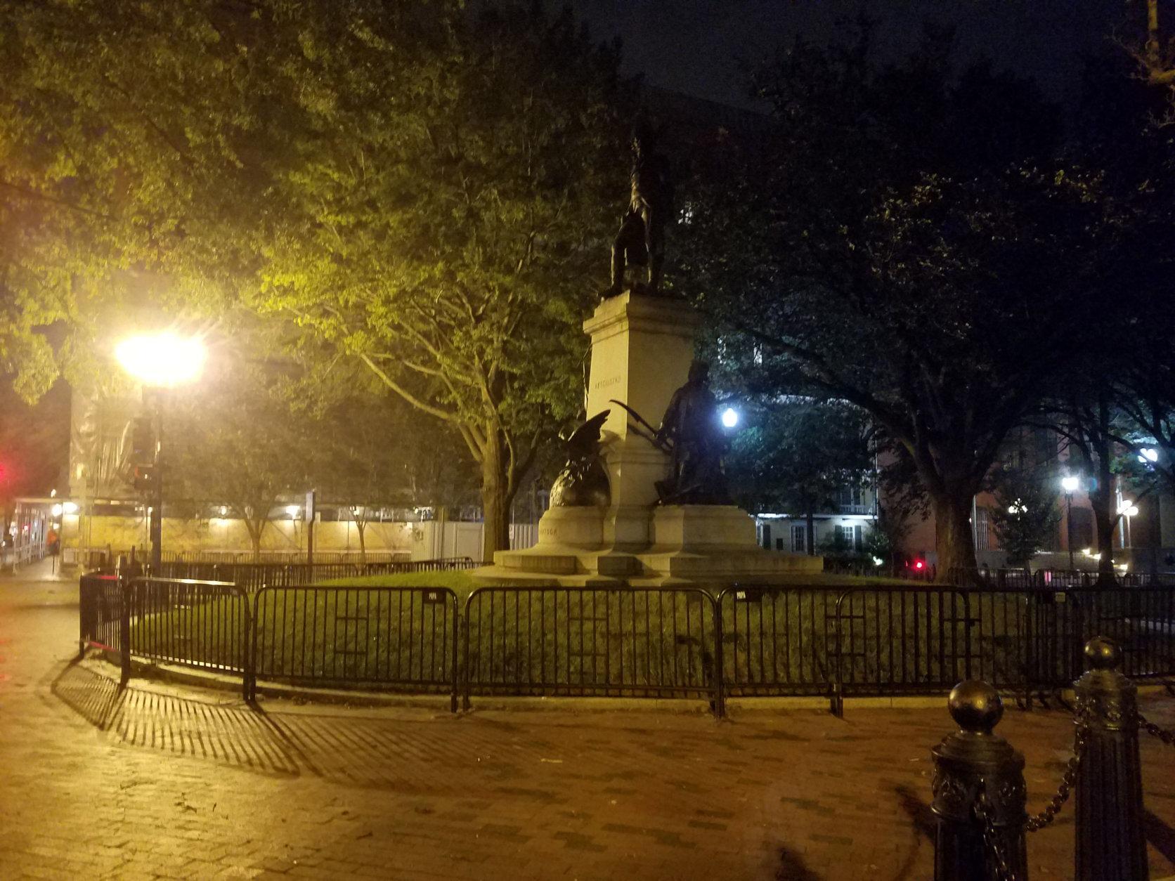 Lafayette Park after dark near the spot where Barton Keys was killed by Daniel Sickles. (WTOP/Will Vitka)
