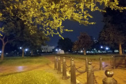 Lafayette Square Park in the wee hours of the morning, with the White House in the distance. (WTOP/Will Vitka)
