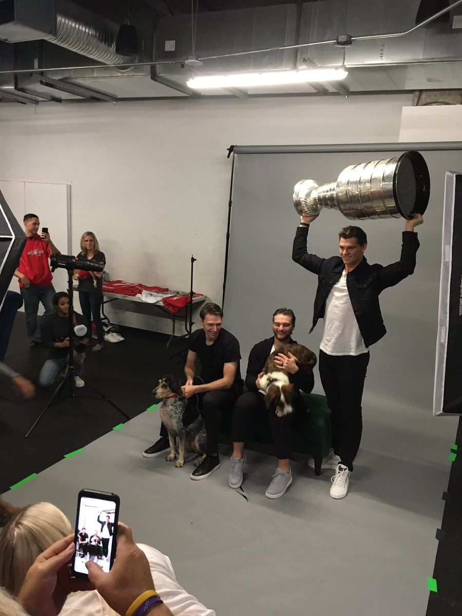 "When asked if Caps players were more cat or dog people, Braden Holtby's response: ""Dog people, I'd say. Some guys have some cats, too."" (WTOP/Liz Anderson)"