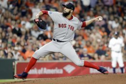 Boston Red Sox starting pitcher David Price throws against the Houston Astros during the first inning in Game 5 of a baseball American League Championship Series on Thursday, Oct. 18, 2018, in Houston. (AP Photo/David J. Phillip)