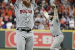 Boston Red Sox relief pitcher Craig Kimbrel celebrates after the Red Sox won Game 5 of a baseball American League Championship Series against the Houston Astros on Thursday, Oct. 18, 2018, in Houston. (AP Photo/Frank Franklin II)