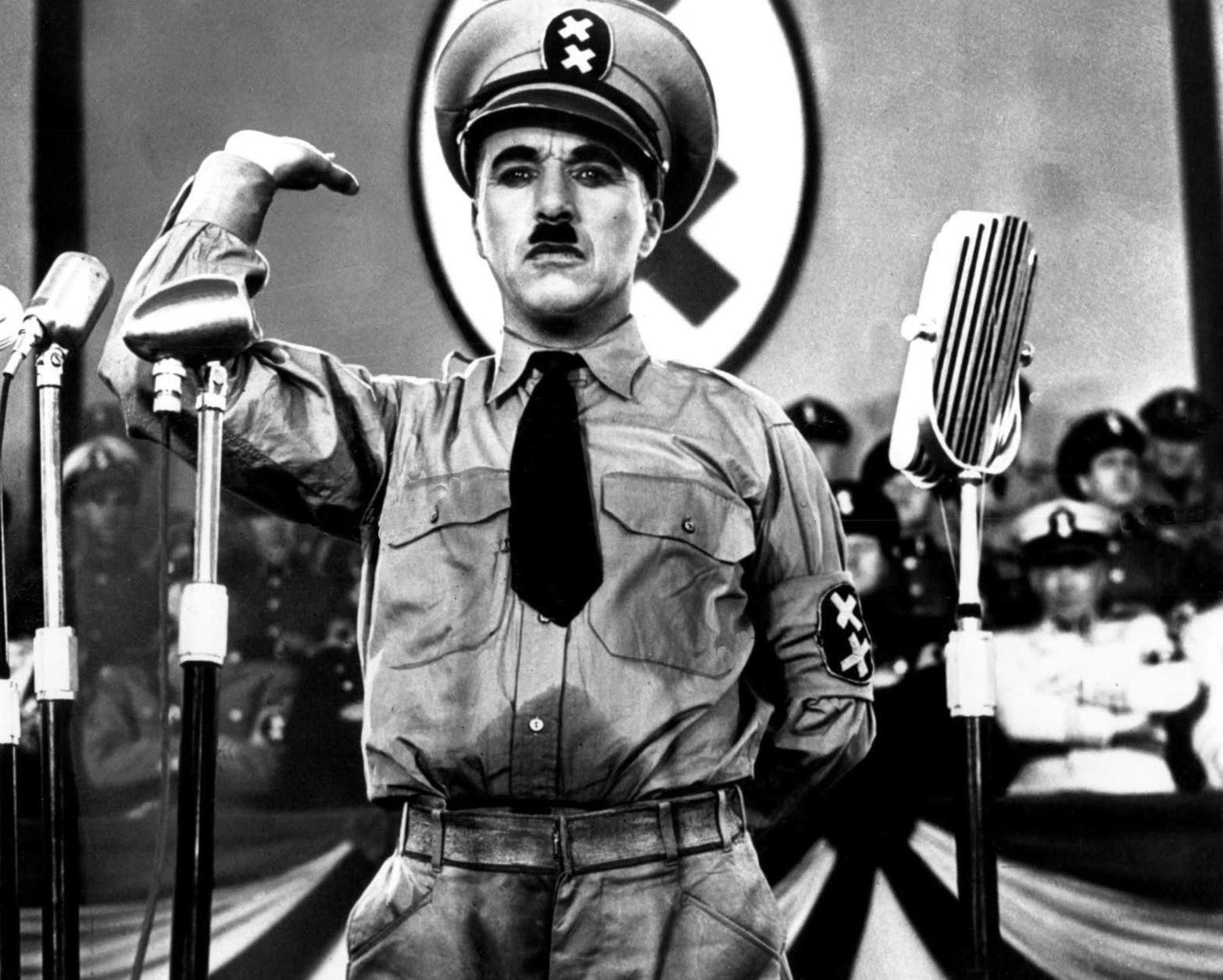 """Actor Charlie Chaplin is seen in the film """"The Great Dictator,"""" the first film in which he speaks, 1940.  (AP Photo)"""