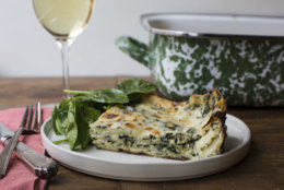 This November 2016 photo shows white and green spinach lasagna in New York. This dish is from a recipe by Katie Workman. (Sarah Crowder via AP)