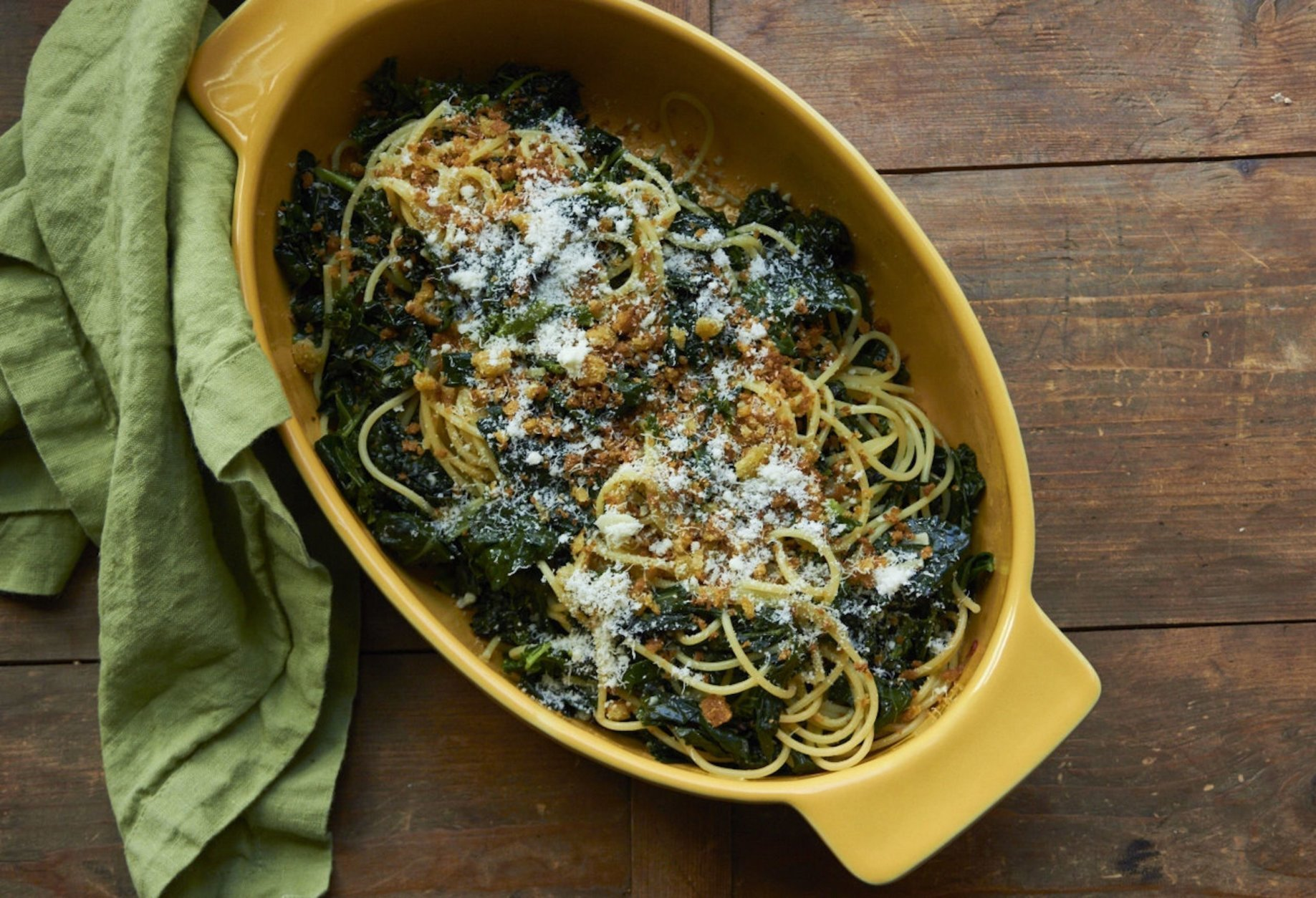 This January 2017 photo shows pasta with sauteed kale and toasted bread crumbs in New York. This dish is from a recipe by Katie Workman. (Mia via AP)