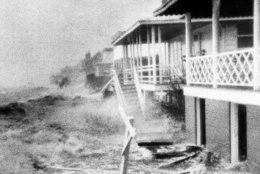 FILE-In this Oct. 15, 1954 file photo, Hurricane Hazel destruction is seen in Morehead City, N.C. The last time the midsection of the East Coast stared down a hurricane like Florence, Dwight Eisenhower was in the White House and Marilyn Monroe and Joe DiMaggio were newlyweds. Florence could inflict the hardest hurricane punch the Carolinas have seen in more than 60 years, with rain and wind of more than 130 mph (209 kph). (AP Photo/Clifton Guthrie, File)
