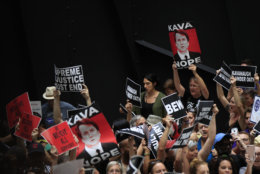 Protesters against Supreme Court nominee Brett Kavanaugh gather in the atrium of the Hart Senate Office Building on Capitol Hill in Washington, Thursday, Oct. 4, 2018. (AP Photo/Manuel Balce Ceneta)