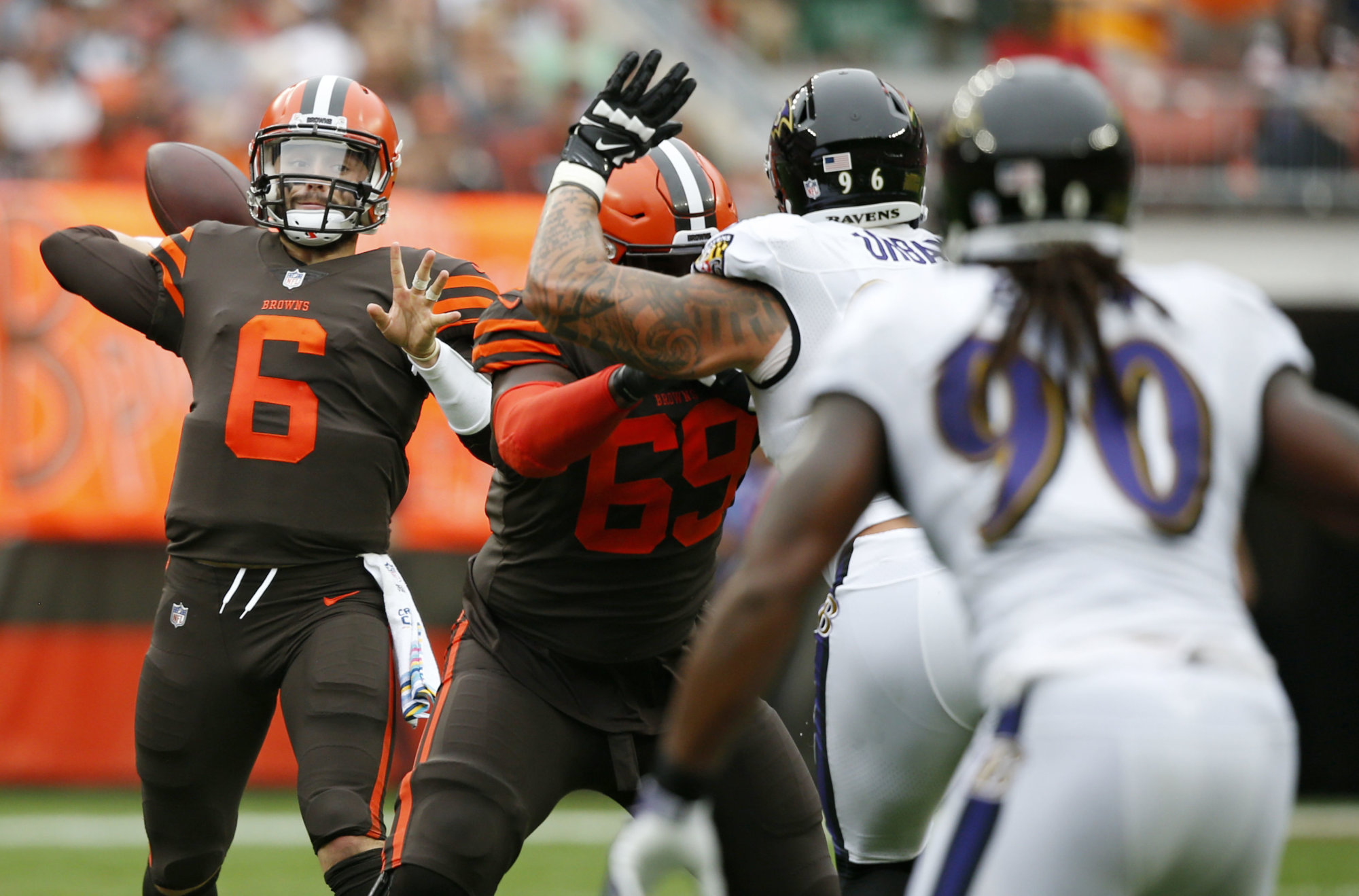 Cleveland Browns quarterback Baker Mayfield (6) prepares to throw against the Baltimore Ravens during the first half of an NFL football game, Sunday, Oct. 7, 2018, in Cleveland. (AP Photo/Ron Schwane)