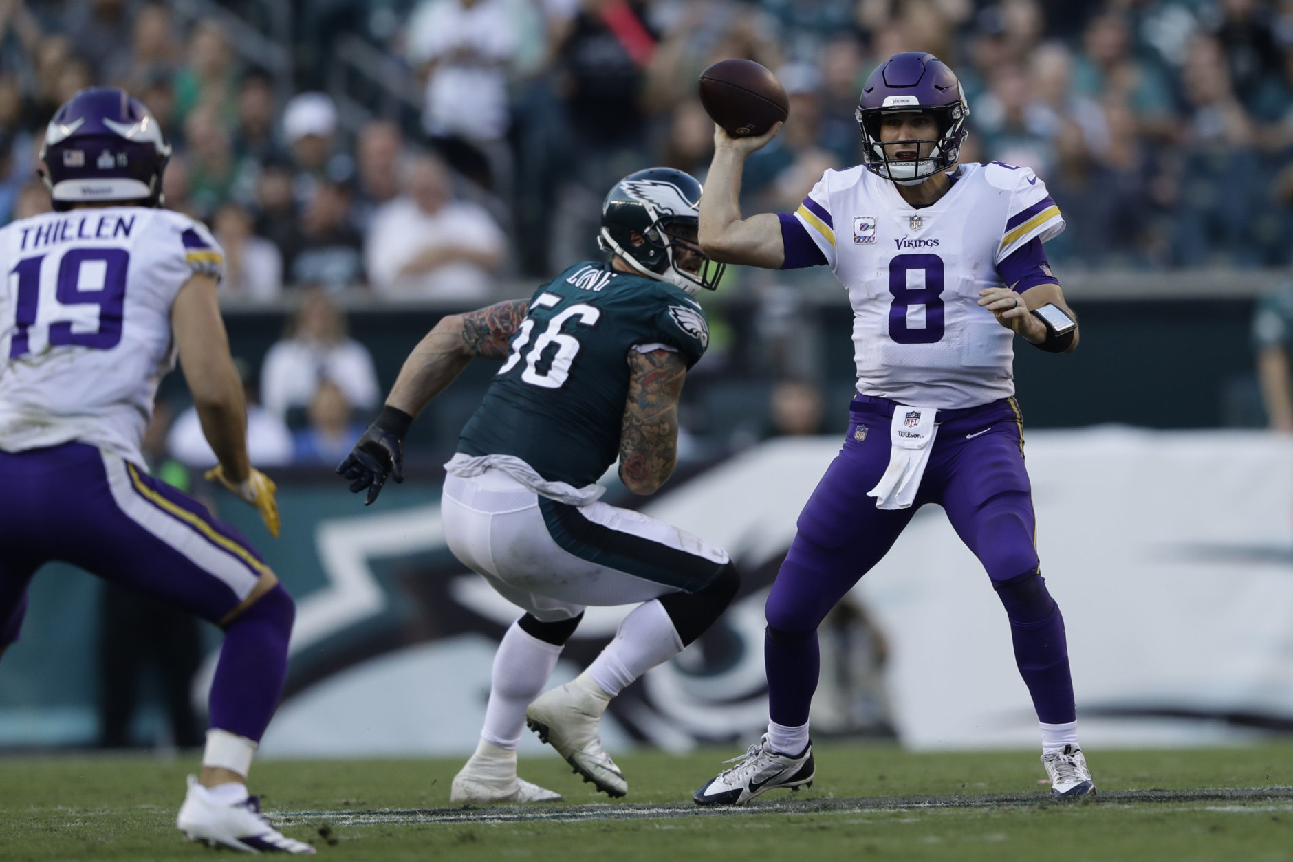 Minnesota Vikings' Kirk Cousins in action during the first half of an NFL football game against the Philadelphia Eagles, Sunday, Oct. 7, 2018, in Philadelphia. (AP Photo/Michael Perez)