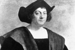 A painting of Christopher Columbus by Sebastiano del Piombo is seen, Sept. 19, 1943 at the Metropolitan Museum of Art in New York.  No portrait of Columbus from real life is known to exist but there are five standard types of which this is one.  (AP Photo)
