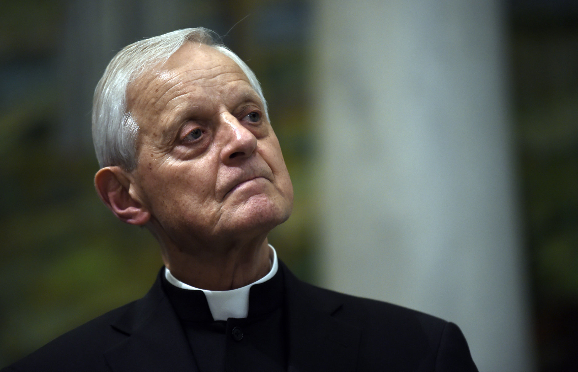 In 2015, Cardinal Donald Wuerl, archbishop of Washington, spoke at a news conference. On Oct. 12, 2018, the Vatican announced Pope Francis had accepted Wuerl's resignation. (File photo/Susan Walsh)
