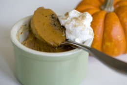 This Oct. 21, 2013 photo shows Thai pumpkin custard in Concord, N.H. Halloween may be done, but pumpkin season rolls on. Canned or fresh, it's full of carotenoids and fiber, and it boasts more potassium than a banana. And a cup of canned pumpkin has just 80 calories. (AP Photo/Matthew Mead)
