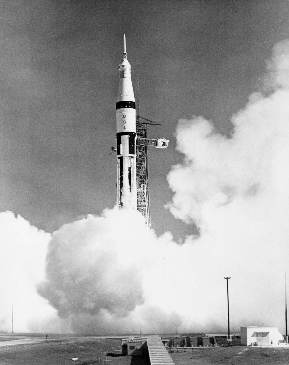 A 224-foot high Saturn IB space vehicle is lifted off at 11:03 a.m. EST from Launch Complex 34 at Cape Kennedy, Fla., Oct. 11, 1968.  The space rocket is carrying  Apollo 7 astronauts Walter M. Schirra Jr., commander; Donn F. Eisele, command module pilot; and Walter Cunningham, lunar module pilot.  The open-ended mission, scheduled to span 11 days, is designed to qualify the three-man Apollo spacecraft system for future voyages planned by NASA.  (AP Photo)