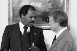 District of Columbia Mayor Marion Barry chats with President Jimmy Carter during their meeting at the White House in Washington, Jan. 11, 1979. They discussed the first days of Barry's administration. (AP Photo/Mark Wilson)