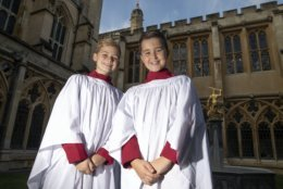 Leo Mills, 12, left, and Alexis Sheppard, 11, choristers of the Windsor Castle chapel choir on Thursday Oct. 11, 2018, who will take part in the wedding of Britain's Princess Eugenie and Jack Brooksbank on Friday. (Steve Parsons/Pool via AP)