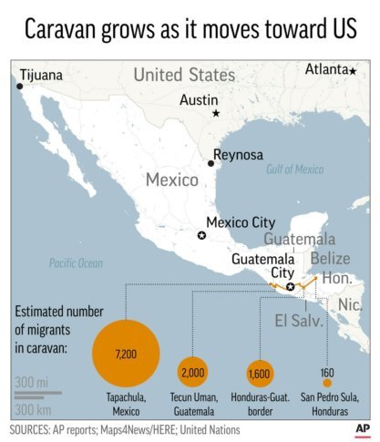 Over 7k Strong Migrant Caravan Pushes On Still Far From Us Wtop - Map-of-mexico-before-us-took-over