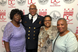 Fire Chief Gregory Dean at the luncheon, with Hattie McLaurin, Darlene Hodges and Claudia Walker. (WTOP/Kristi King)