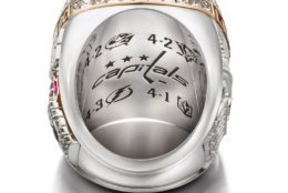 The interior of the ring is engraved with the Capitals' logo surrounded by the logos and series scores. (Courtesy Washington Capitals / Jostens)