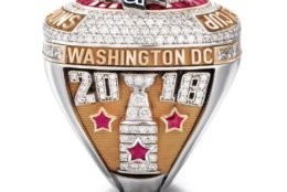 The right side of the ring features the year date 2018. Below that is the Stanley Cup created in white gold. (Courtesy Washington Capitals / Jostens)