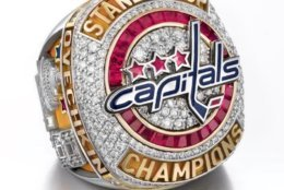 The ring top features the Capitals logo created from red and blue enamel. (Courtesy Washington Capitals / Jostens)